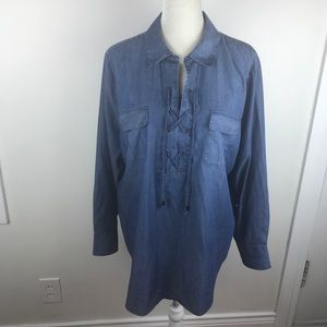 Chico's chambray lace up popover tunic shirt 3